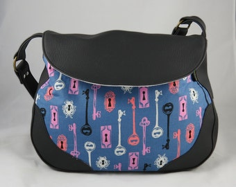 Sadie Expandable Handbag with Zippered Gusset with Skeleton Keys in Blue