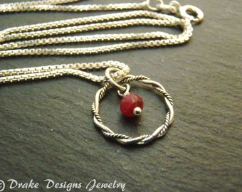 Sterling Silver delicate raw ruby necklace July birthstone ruby jewelry