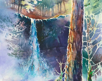 Silver Falls - Watercolor Painting Print by Michael David Sorensen. Silver Falls State Park, Oregon Waterfall. Green Purple. Trees. Falls.