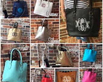 Monogram Purse, Leather Monogram Tote, Scalloped  Tote Bag, Monogrammed Leather Purse, Gifts for Her,  Gifts under 50, Monogram Handbag