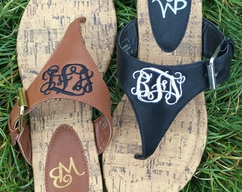 Black Monogrammed Sandals, Monogram thong Sandals, Black thong sandals with monogram, personalized sandals,