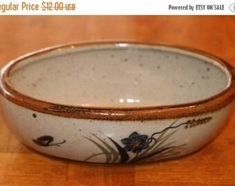 SUMMER SALE Vintage Xochiquetzal Mexican Pottery - Tonala Jalisco Mexico - Small Oval Bowl