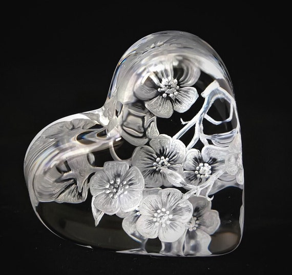 Hand Engraved Baccarat Paperweight, Baccarat Crystal, Cherry Blossom, Heart Paper Weight, Collector Gifts, flowers, mothers day gift