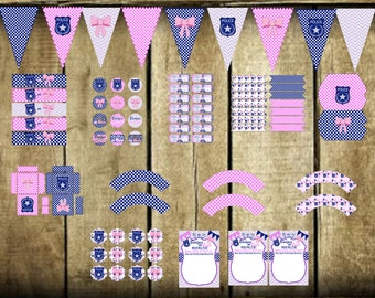 Instant Download: Badges or Bows Printable Gender Reveal Party Package DIY print your own invitation, cupcake topper wrapper