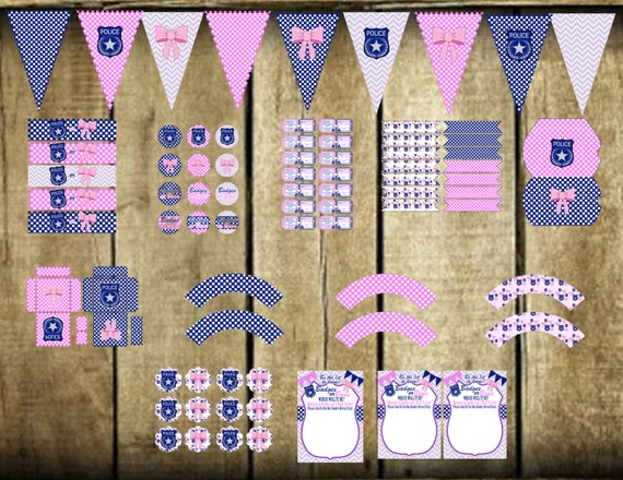 Instant Download Badges Or Bows Printable Gender Reveal Party