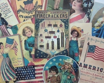 Lot of 12 Vintage 4th of JULY Die Cuts for Crafts || J17 || Free Ship || Red White Blue