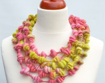 Art yarn necklace 'Carnivale' - Wearable  Handspun Merino wool art yarn hand dyed