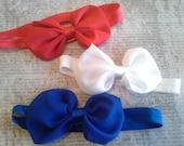 set 3 headbands, baby headbands, newborn headbands,4th of july headband, bow headbands,patriotic headbands,bow headbands, chiffon headbands