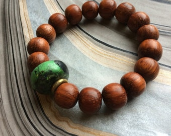 Natural Turquoise, Brown Wood and African Brass Stretch Bracelet