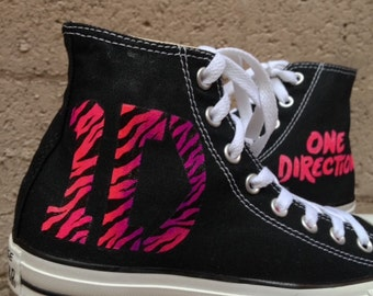 One Direction Inspired Converse High Tops. 1D inspired Chuck Taylors. Custom Painted Chuck Taylors One Direction Shoes
