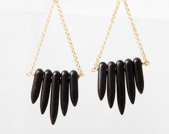 Black Howlite Point Earrings