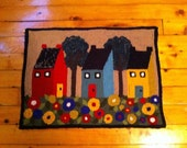 """Rug Hooked Wall Hanging """"Houses and Flowers"""""""