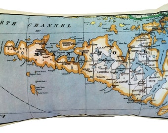 Manitoulin Vintage Map Pillow - FREE SHIPPING