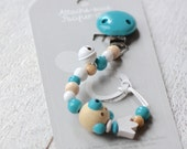 Baby pacifier clip, bear pacifier clip, pacifier holder, blue pacifier clip, unisex pacifier clip, turquoise pacifier clip, royal baby, bear