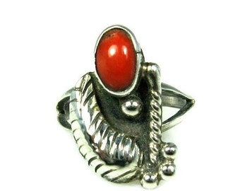 Navajo Red Coral Ring Sterling Silver Size 5 Signed BS