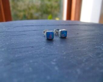 Square Opal Sterling Silver Birthstone Stud Earrings
