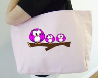 Hot pink owls tote bag - owl themed gift - polyester tote bag - original design owl bag - owl lover tote - pink owls - owl heat transfer