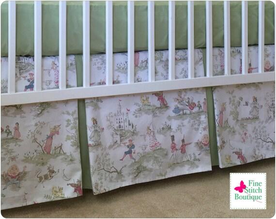 pastel the moon toile pleated crib skirt nursery rhyme
