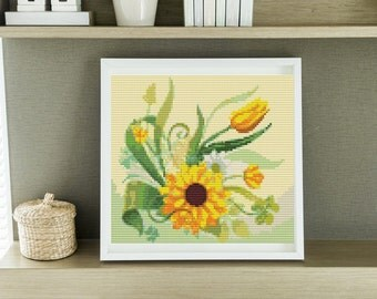Mini Cross Stitch KIT Sunflower Garden