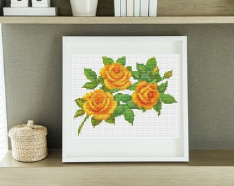 Mini Cross Stitch KIT A Trio of Yellow Roses