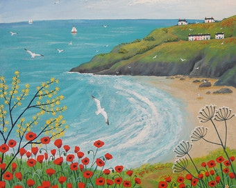 Print of English seaside in summer with poppies from an original acrylic painting 'The Path to Poppy Bay' by Jo Grundy