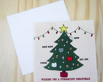 "CARD: ""Christmas Tree Cats"" featuring cats in a Christmas tree"