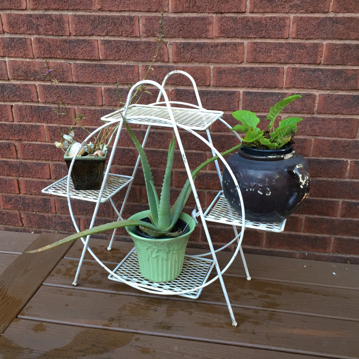 mid century plant stand wire indoor or outdoor. Black Bedroom Furniture Sets. Home Design Ideas