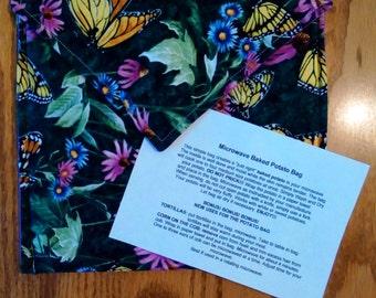 "Handmade - Microwave Potato Baker Bag/Hot Pad ""Butterfly"" Print."