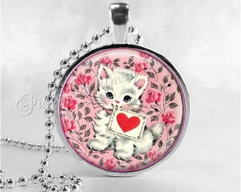 VALENTINE CAT Pendant Necklace, Cat Kitten Jewelry Love Vintage Valentine Jewelry Valentine Art Pendant, Heart, Pink Shabby Roses