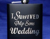 I Survived My Sons Wedding Black Flask, Parents of the groom, Father of the groom gift, Mother of the groom gift, wedding flask