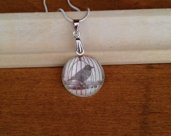 Birdcage Silver Pendant Necklace