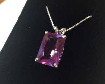 Gorgeous 8ct Emerald Cut Alexandrite Sterling Silver Solitaire Pendant Necklace Color Change Alexandrite Necklace 9ct June Birthstone Gift M