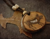 Wild boar wood pendant