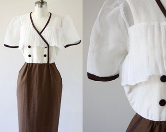 1960s sheer sheath dress  //  1960s shirt dress // vintage casual dress