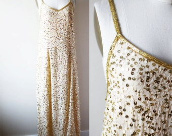 1980s gold sequin maxi dress // cocktail dress // vintage dress