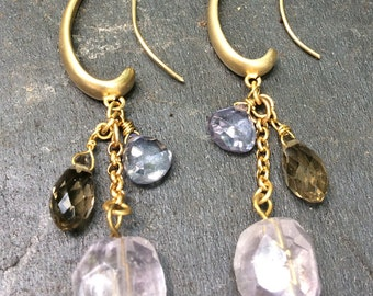 Pink Amethyst, Smoky Topaz, & Blue Quartz Cluster Earrings