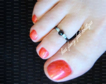 Toe Ring - Black Pearl - Mint - Stretch Bead Toe Ring