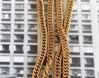 Vintage Brass Curb Chain, Heavy Curb Chain, Brass Curb Chain, 7.5mm, 1.5FT