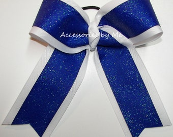 Bulk Price, Sparkly Blue Cheer Bow, Blue White Glitter Cheer Bow, 6 Inch Cheerleader Bows, Blue Volleyball Bows, Softball Bows, Football Bow