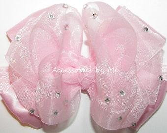 Glitzy Headband, Light Pink Organza Satin Ribbon Bow Band, Infant Baby Girls Embellished Hair Accessories, Pageant Bows, Princess 1 Birthday