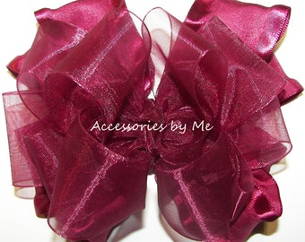 Wine Ruffle Bow, Burgundy Hair Clip, Baby Burgundy Ruffle Bow Band, Toddler Flower Girls Red Wine Barrettes, Infant Headband, Pageant Bows