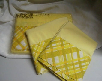 vintage 70s yellow utica full flat sheet with pillowcases