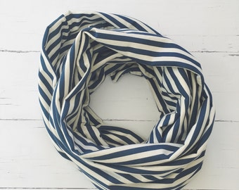 Infinity Scarf/Navy Infinity Scarf/Nautical Scarf/Loop Scarf/Striped Scarf/Gift for Her