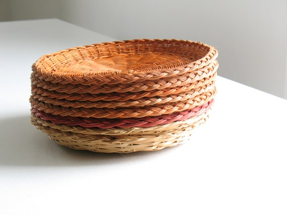Vintage wicker paper plate holders set of 8 woven rattan natural