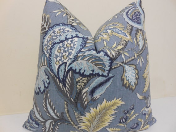 Blue Gray Brown Yellow Decorative Pillow Cover by ZourraDesigns