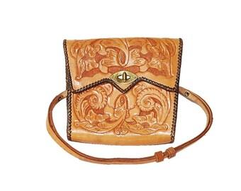 Tooled Leather Bag Boho Hippie Envelope Shoulder Purse, Vintage Retro 70's Hand Tooled Leather Bag, Southwestern Purse, Prison Folk Art