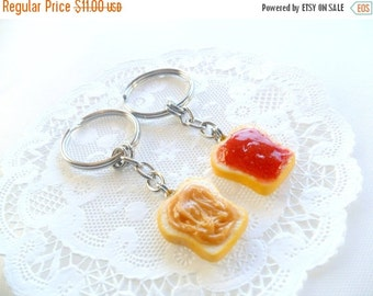 ON SALE Peanut Butter and Jelly Keychain Set, Strawberry, Best Friend's Keychains, Cute :D