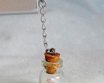 ON SALE Fairy Kei Glitter Wishing Stars or Hearts Dust Plug Bottle Charm, For iPhone or iPod, Cute, Kawaii :D