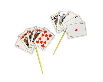 12 Playing Cards Food Cupcake Picks - Casino Poker Party - Baking Cake Decorating Decorations Supplies
