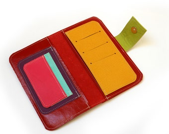 Mulicolor Women's Leather wallet ,Handmade Wallet ,Iphone wallet ,Leather Iphone 5 wallet